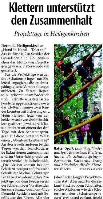 Klettern an der GS-Heiligenkirchen lehrt Teamwork!